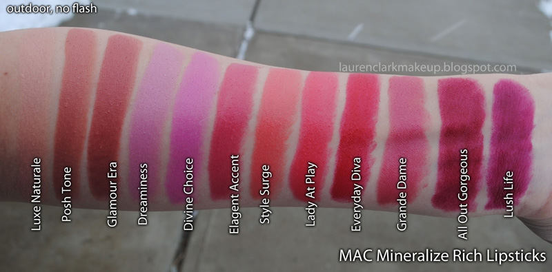 Bảng màu son MAC Mineralize Rich Lipstick