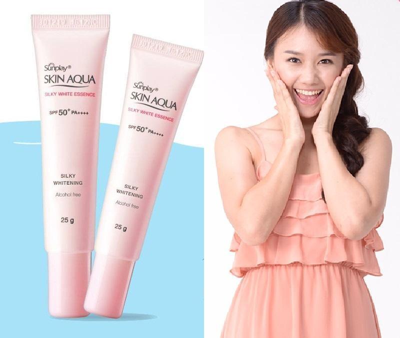 Skin Aqua Silky White Essence SPF50+ thẩm thấu nhanh