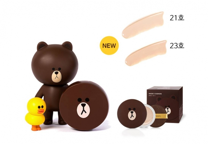 Missha Line Friends Magic Cushion gấu nâu mặt đơ và chú vịt vàng vui nhộn