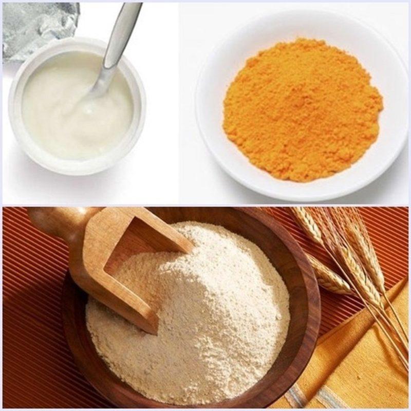 Mặt nạ nghệ và bột cám gạo