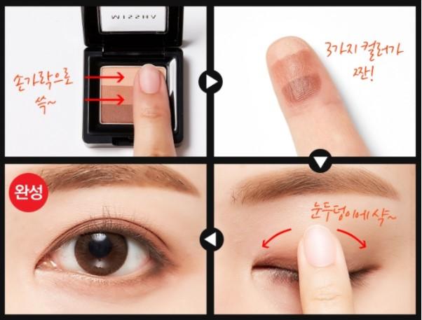Các bước đơn giản sử dụng phấn mắt Missha Triple Shadow