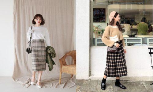 12 ý tưởng phối đồ với chân váy dài caro đậm chất Hàn Quốc
