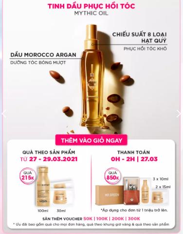 Khi mua dầu dưỡng tóc bóng mượt cao cấp L'Oréal Professionnel Mythic Oil sẽ kèm theo nhiều phần quà hấp dẫn