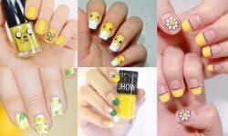 4 mẫu nail tông màu vàng họa tiết dễ thương