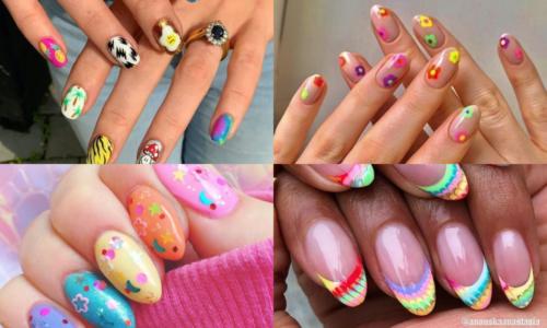 5 ý tưởng nail nhiều màu sắc phong cách thập niên 90