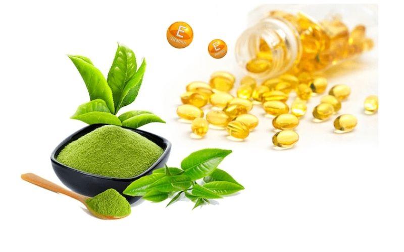 Trị mụn và dưỡng trắng bằng vitamin E cùng trà xanh