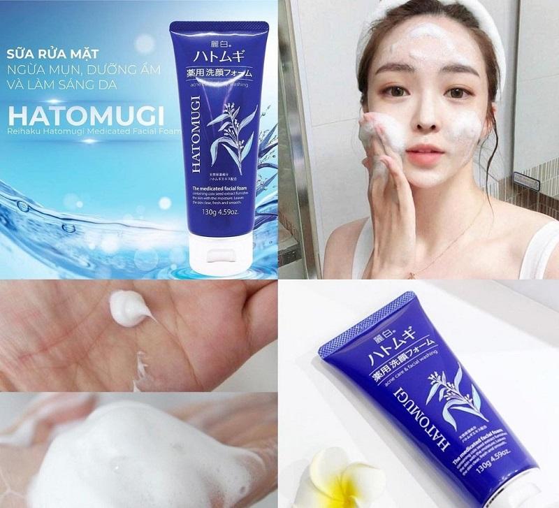 Hiệu quả khi dùng sữa rửa mặt Hatomugi