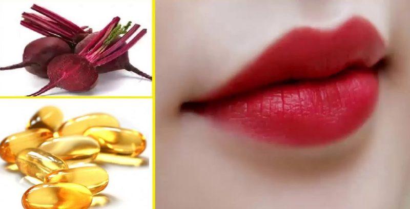 Trị thâm môi bằng củ dền và vitamin e